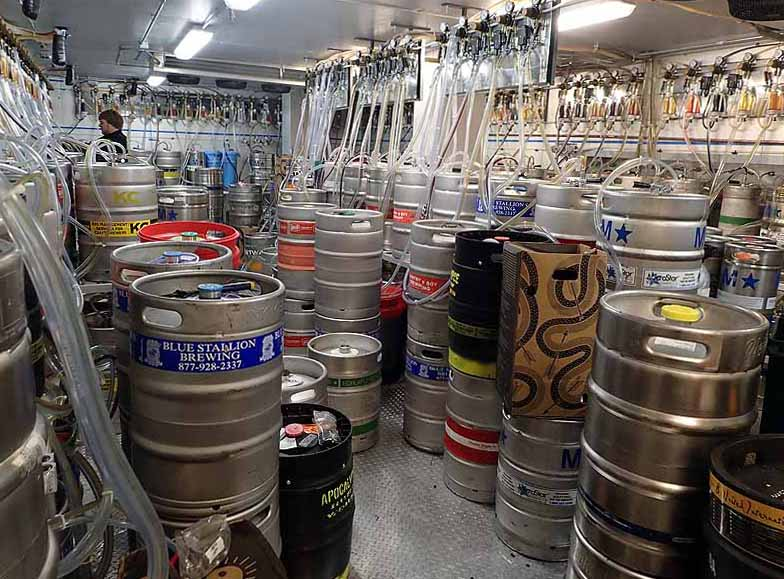 The organized chaos of the keg cooler at HopCat. | Photo by Steve Coomes